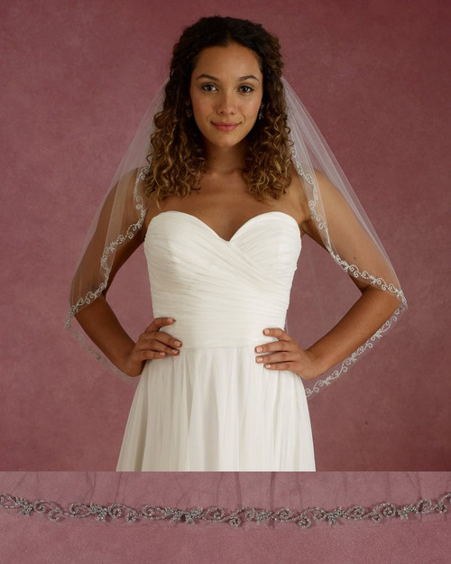 "Marionat Bridal Veils 3680 - 32"" Long rhinestone scroll design - The Bridal Veil Company"