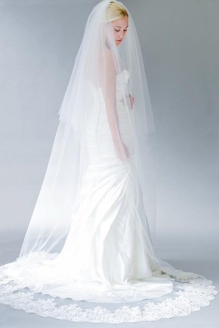 Erica Koesler Wedding Veil 838-100 - Cathedral Scallop Lace w/ Cut Edge