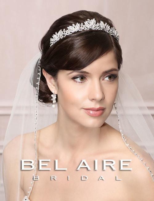"Bel Aire Bridal Accessory Headpiece 6491 - ""Vintage"" Rhinestone & Pearl Tiara"