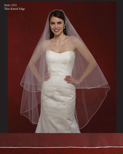 Marionat Bridal Veils 3331- The Bridal Veil Company - Thin Rattail Edge