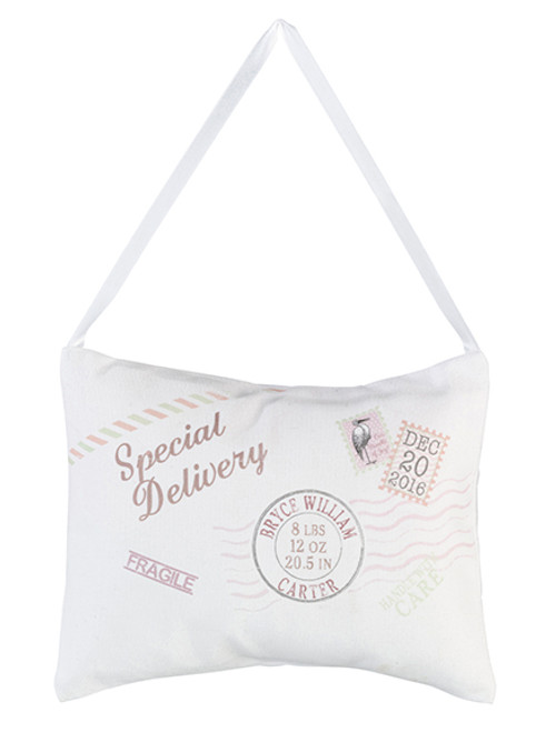 """Personalized Tan """"Speical Delivery"""" Pillow - Lillian Rose"""