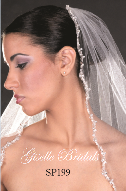 Giselle Bridal Veil Style SP199 - Crystals, rhinestones, silver bugles and pearls, small wave edge