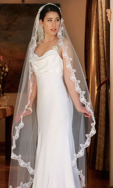Erica Koesler Wedding Veil 669-60 - Scalloped Mantilla Cathedral