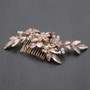 Mariell Rose Gold Bridal Hair Comb with Hand Painted Leaves and Pave Crystals 4437HC-I-RG