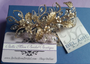 Gold - Bel Aire Bridal Headband 6721 - Wired clip of leaves with rhinestones
