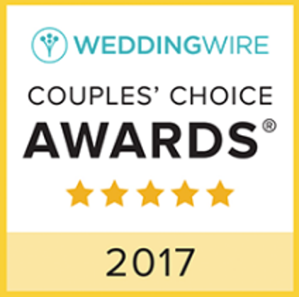 We're honored to have a 2017 WeddingWire - Couples Choice Award! We're in the top 5% of wedding professionals!