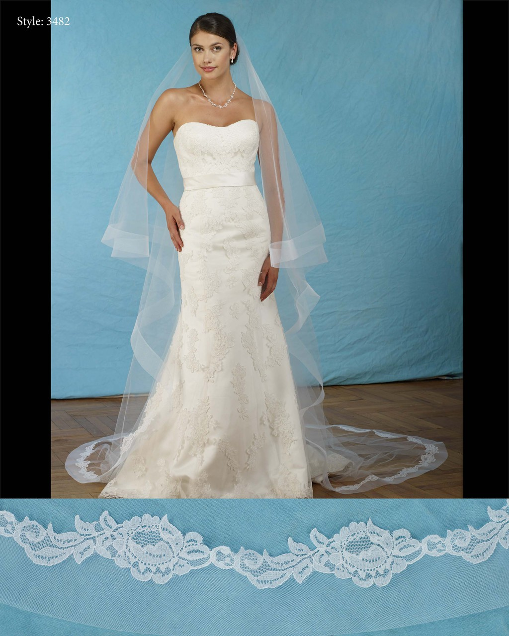 """Marionat Bridal Veils 3482-Foldover horsehair lace veil 108"""" Inches ..."""