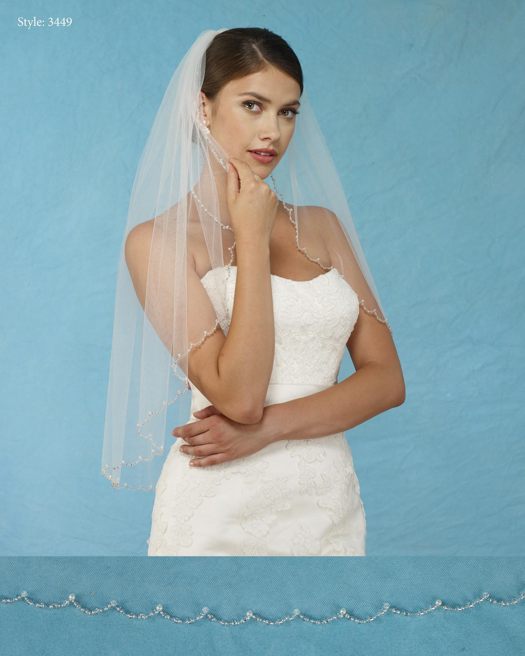 Bridal Veils 3449 - Scalloped Veil with Beads Pearls and Crystals ...