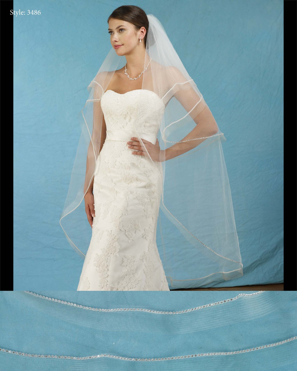 Marionat Bridal Veils 3486 - Oval Foldover Veil with Rhinestones and ...