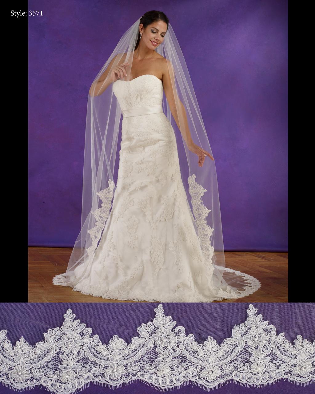 """Marionat Bridal Veils 3571 - 108"""" Long lace edge veil, lace starts ..."""