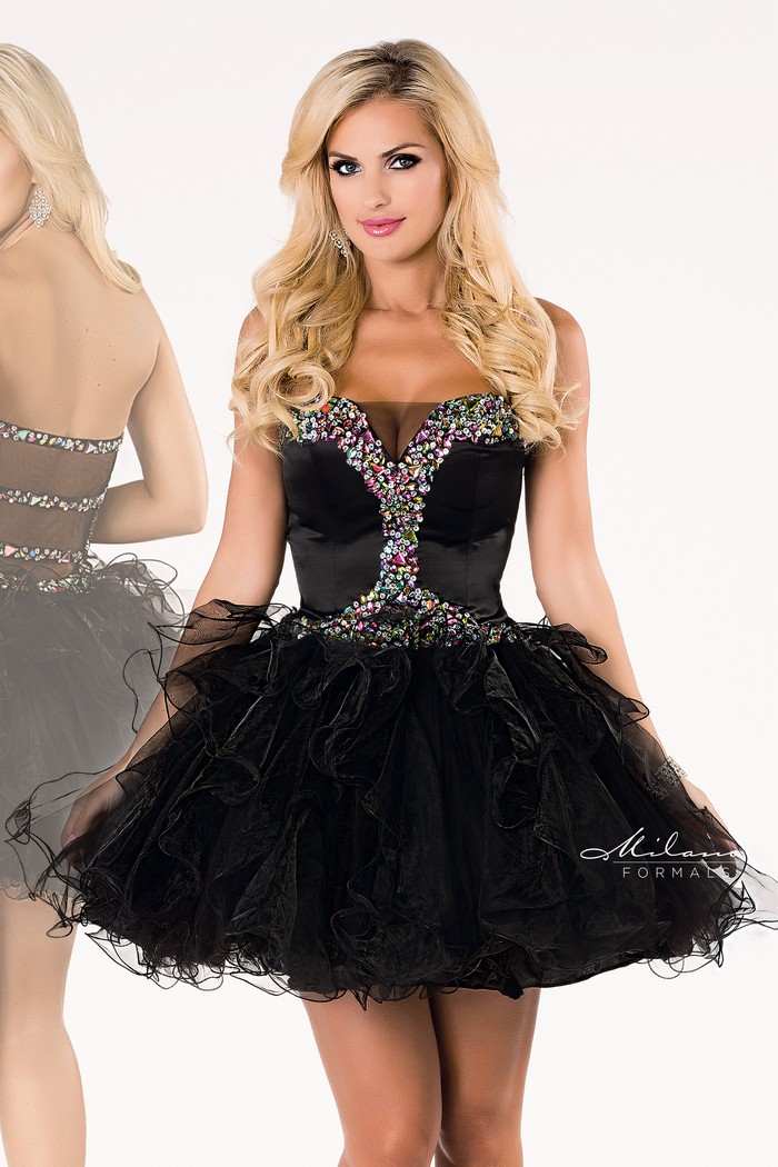 Milano Formals Dress Style 1562 Short Beaded Black Strapless