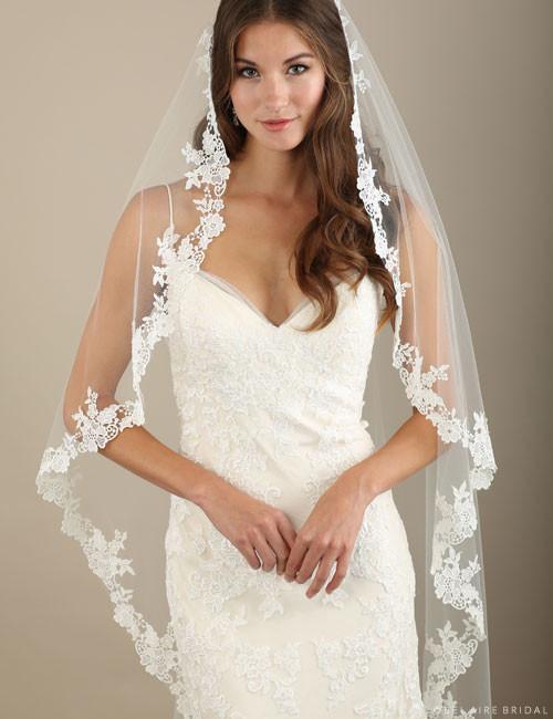 Bel Aire Bridal Veils V7322 - 1-tier waltz length cascading veil ...