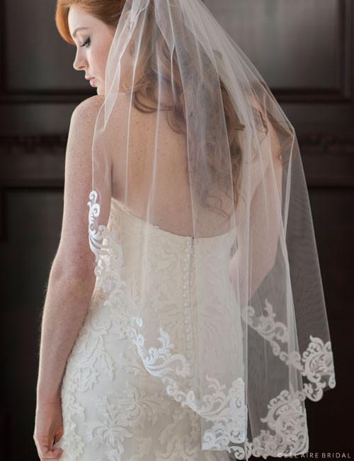 Bel Aire Bridal Veils V7357 1 Tier Fingertip Veil With