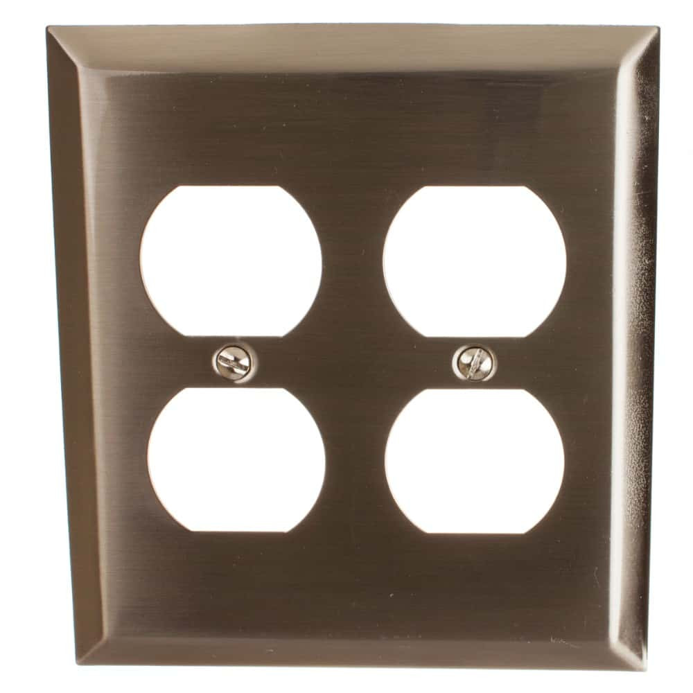 Double Duplex Outlet Beveled Edge 2-Gang Wall Plate Cover - 200DD
