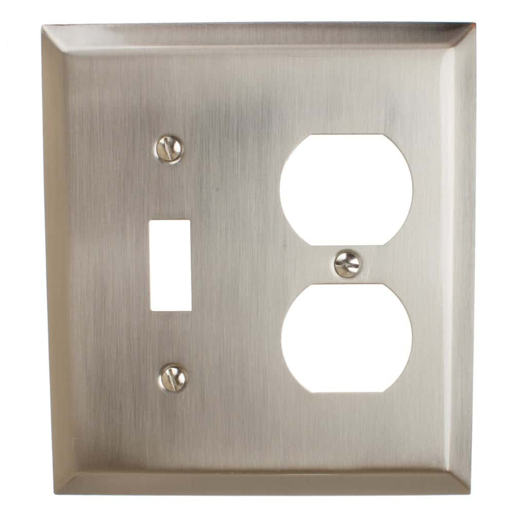 Toggle Light Switch and Duplex Outlet 2-Gang Combination Beveled Edge Wall Plate Cover – 200TD