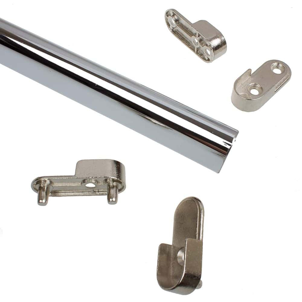 """24"""" Steel Oval Closet Rod with Two Sets of End Supports - Polished Chrome"""