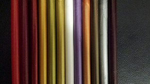 Photo 1 - Left to right: Candy Apple Red, Deep Cherry Red, Harvard Crimson, Midas Gold, Antique Gold, Classic Gold, Frosting White, Lilac Purple, Copper, Gun Metal, Silver, Chocolate Cherry