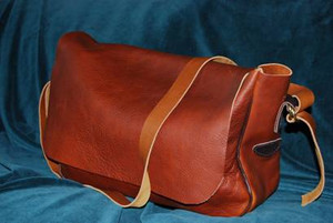 Recycled Leather Messenger Bag - Laptop Bag