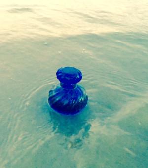 Sea Swirl Hand blown Crystal Blue Inkwell/Perfume Bottle