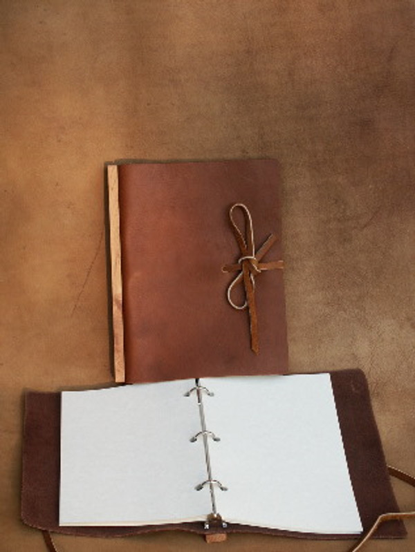 Honey brown, 3-ring binder with tie closure, closed & open views