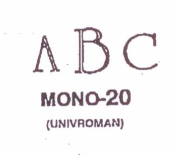 Classic Mono #20 Last initial larger, in center