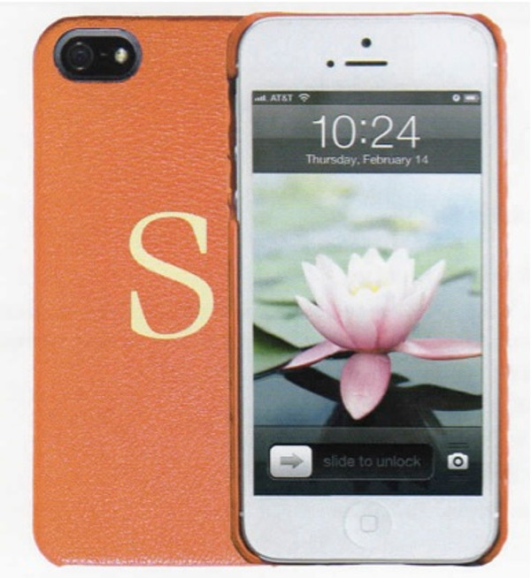 iPhone 5 Case in Traditional Smooth British Tan and Gold Engraving