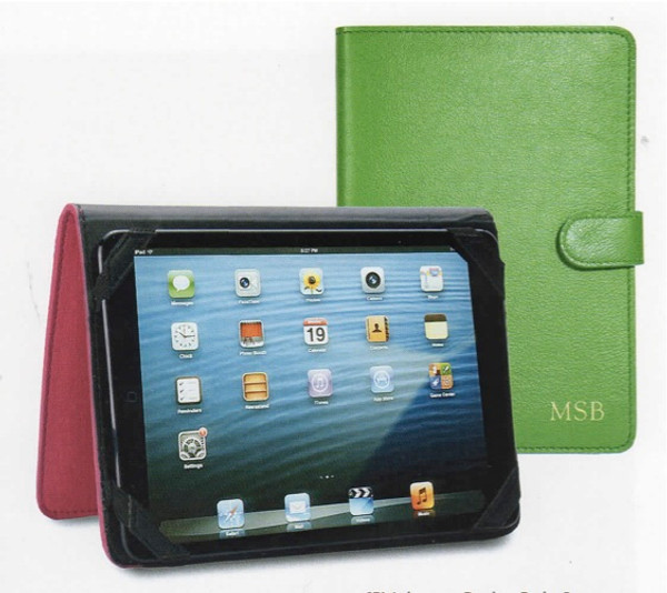 Leather iPad mini Case in Smooth Bright Kelly Green Leather with Gold Monogram