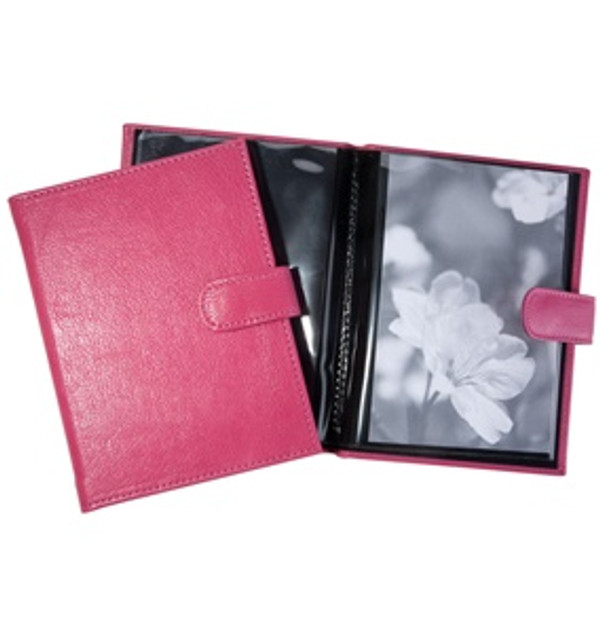 Pocket Photo Album - Sunset Pink Leather with Snap Closure