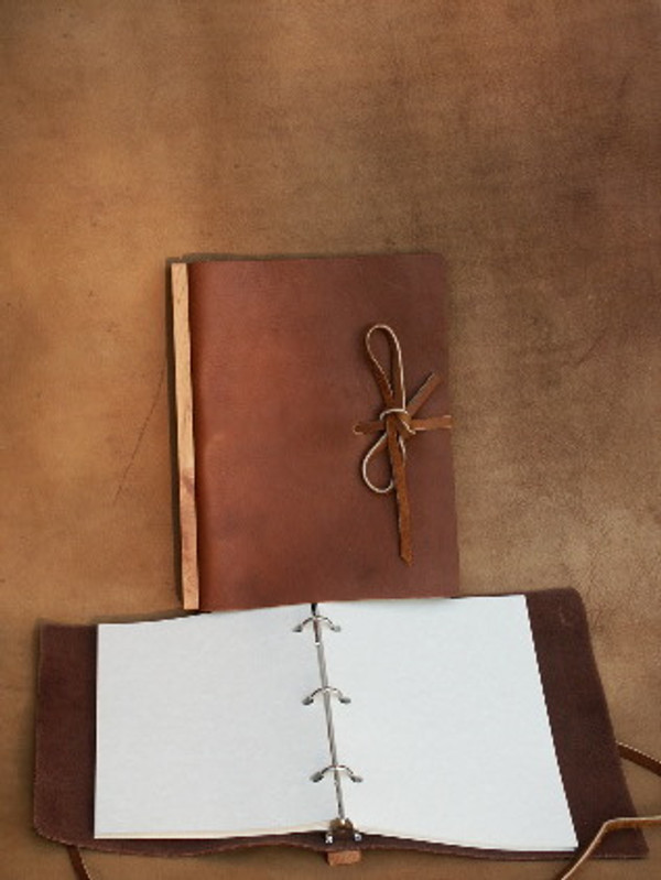"""Recycled 9 x 12"""" Refillable journal with lanyard tie in Chestnut Brown"""