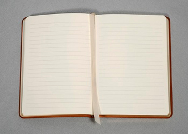 Journal open with lined pages