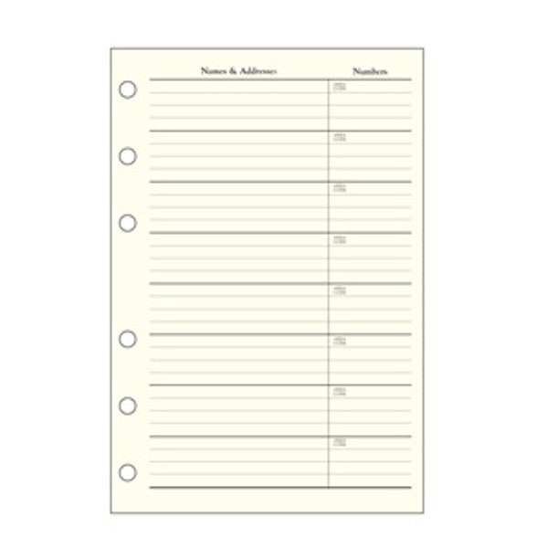 Refill pages for Leather Loose-Leaf Address Book -