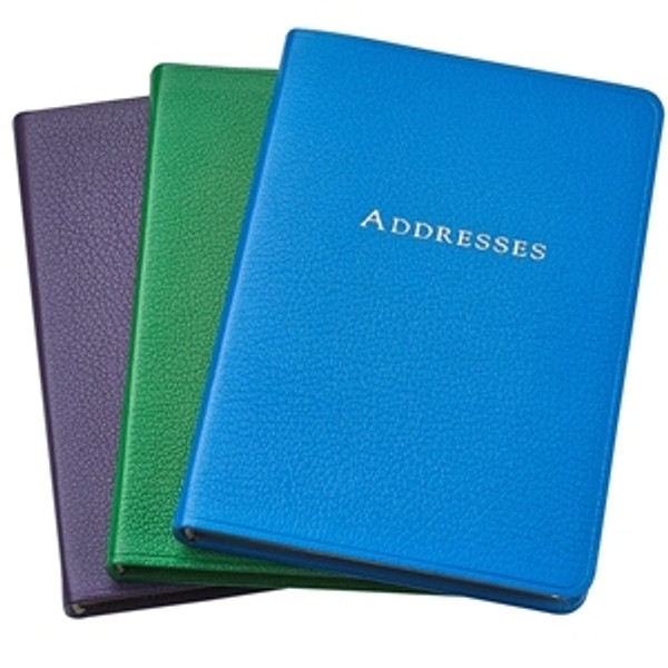 """5 3/8 x 7 3/8"""" Leather Address Book - Bright Leather Colors - Sunset Purple, Grass Green, Clear Sky Blue"""