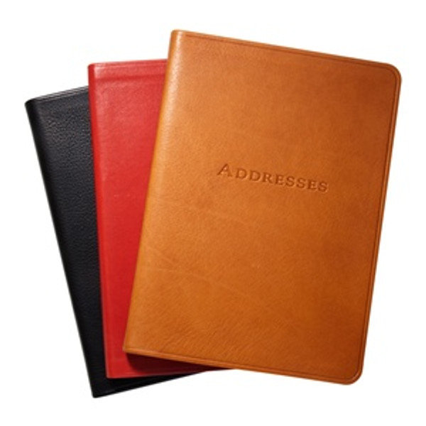 """5 3/8 x 7 3/8"""" Leather Address Book - Smooth Traditional Leather Colors - Black, Red, British Tan"""