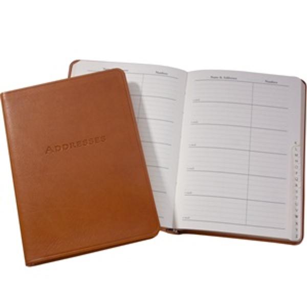 "Bound Leather Desk Address Book 5"" x 7"" Open"