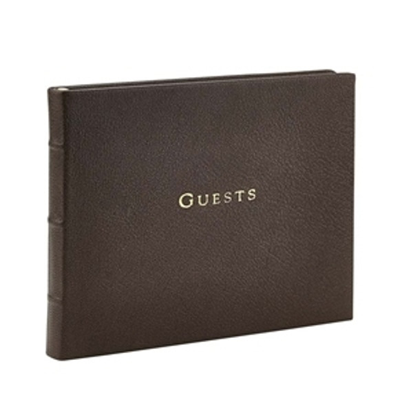 Mocha Brown Leather Guest Book