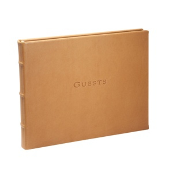 Traditional British Tan Leather Guest Book