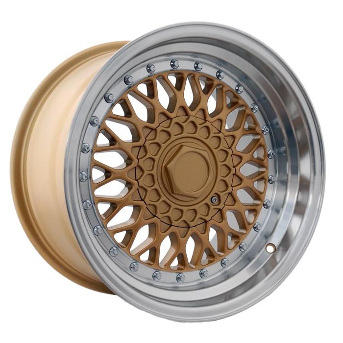 15x7.0 DRRS 4x100/108 ET20 CB73.1 Gold polished lip - max load 690kg