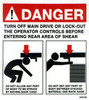 243120: Safety Sign: Shear - Danger Rear (English)