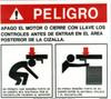 243345: Safety Sign: Shear - Danger Rear (Spanish)