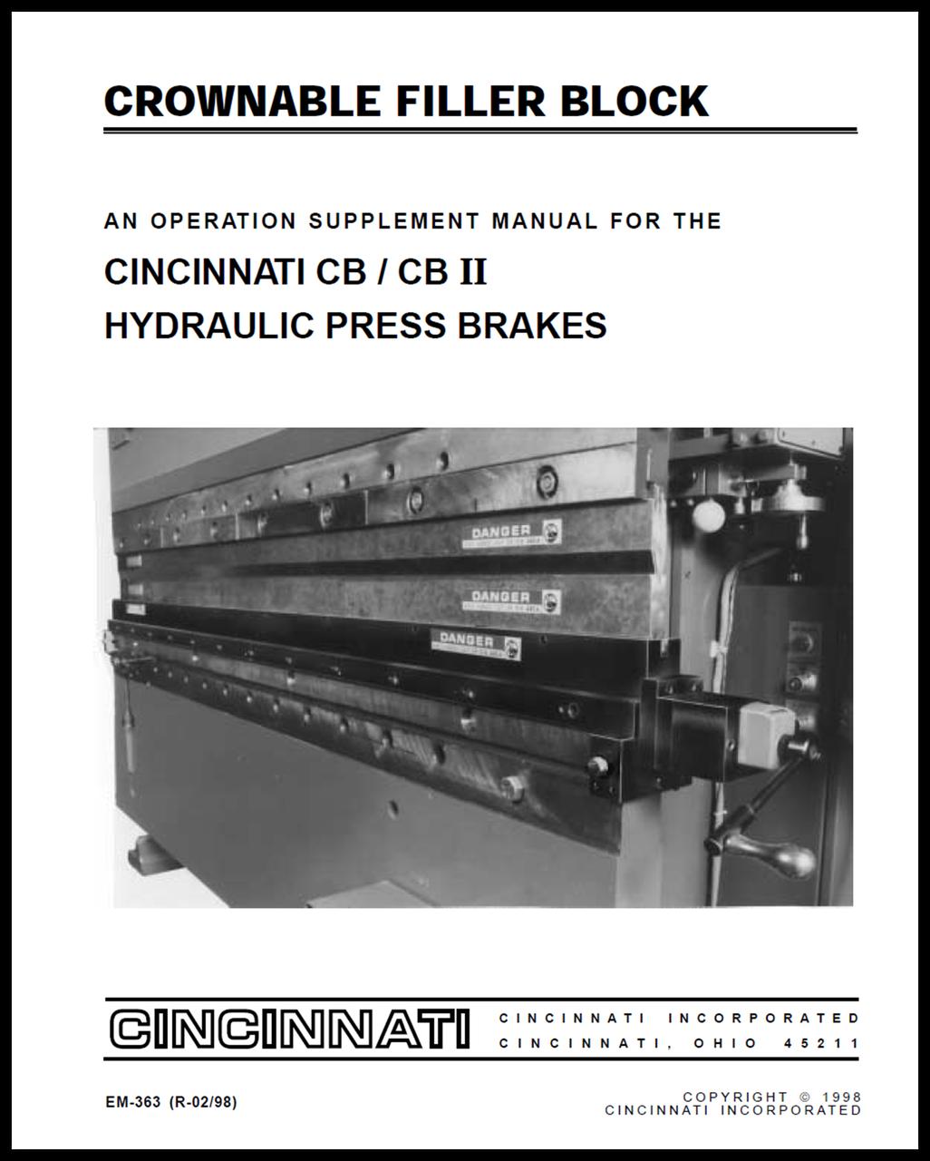 cb ii cnc press brake manual bundle cincinnati incorporated rh ci online e ci com Cincinnati Press Brake Chart Hydraulic Press Brake Circuit