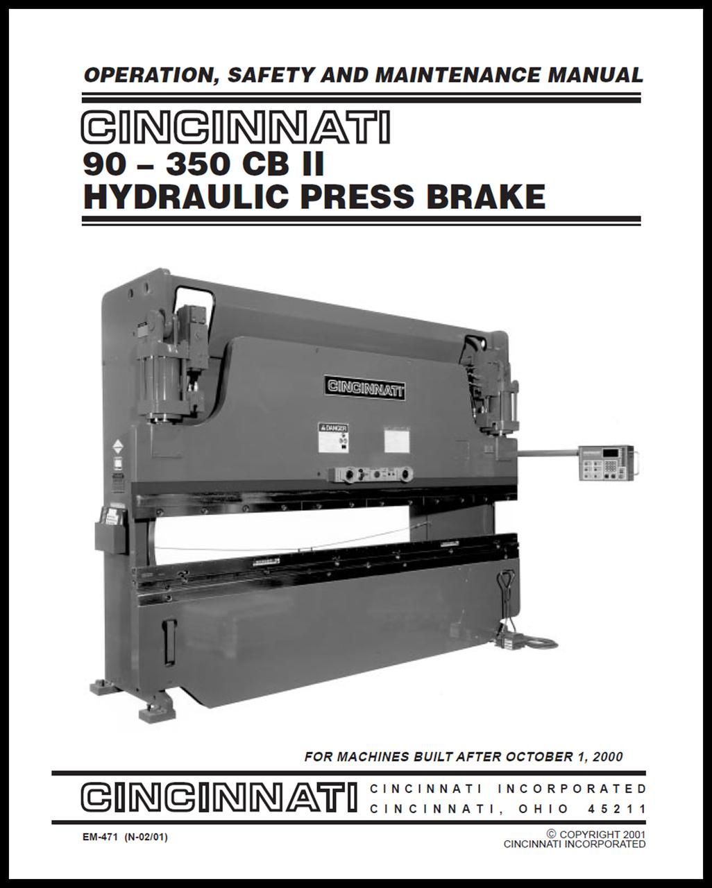 cb ii cnc press brake manual bundle cincinnati incorporated rh ci online e ci com Press Brake Parts List Cincinnati MaxForm Press Brake