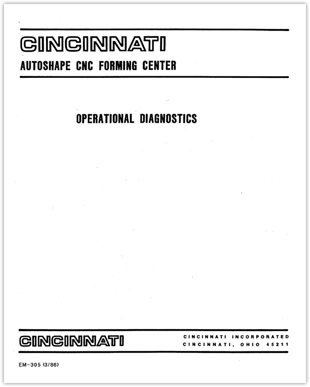 EM-305 (03-86) AUTOSHAPE Operational Diagnostics