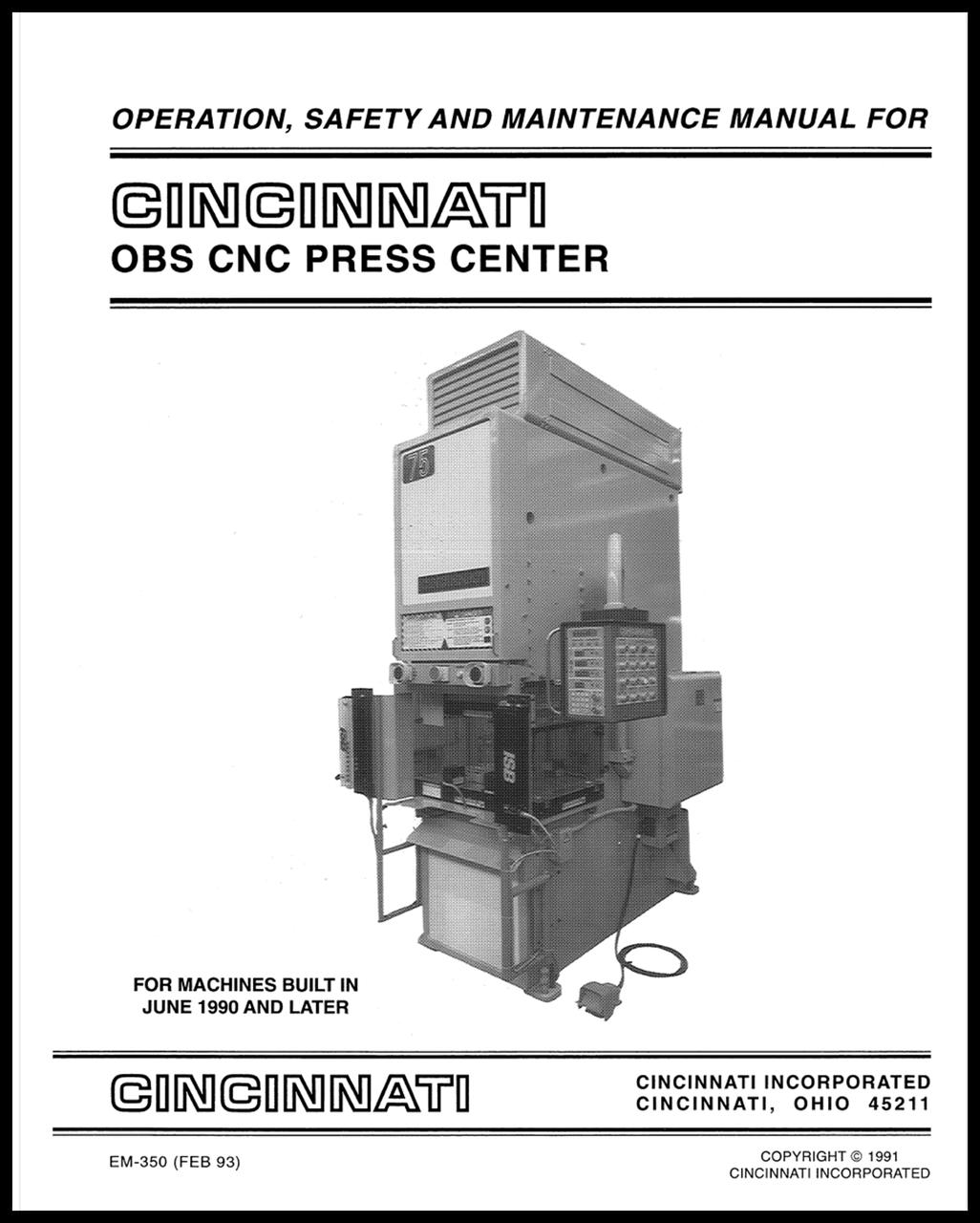 EM-350 (FEB 93) OBS CNC Press Center Operation, Safety and Maintenance