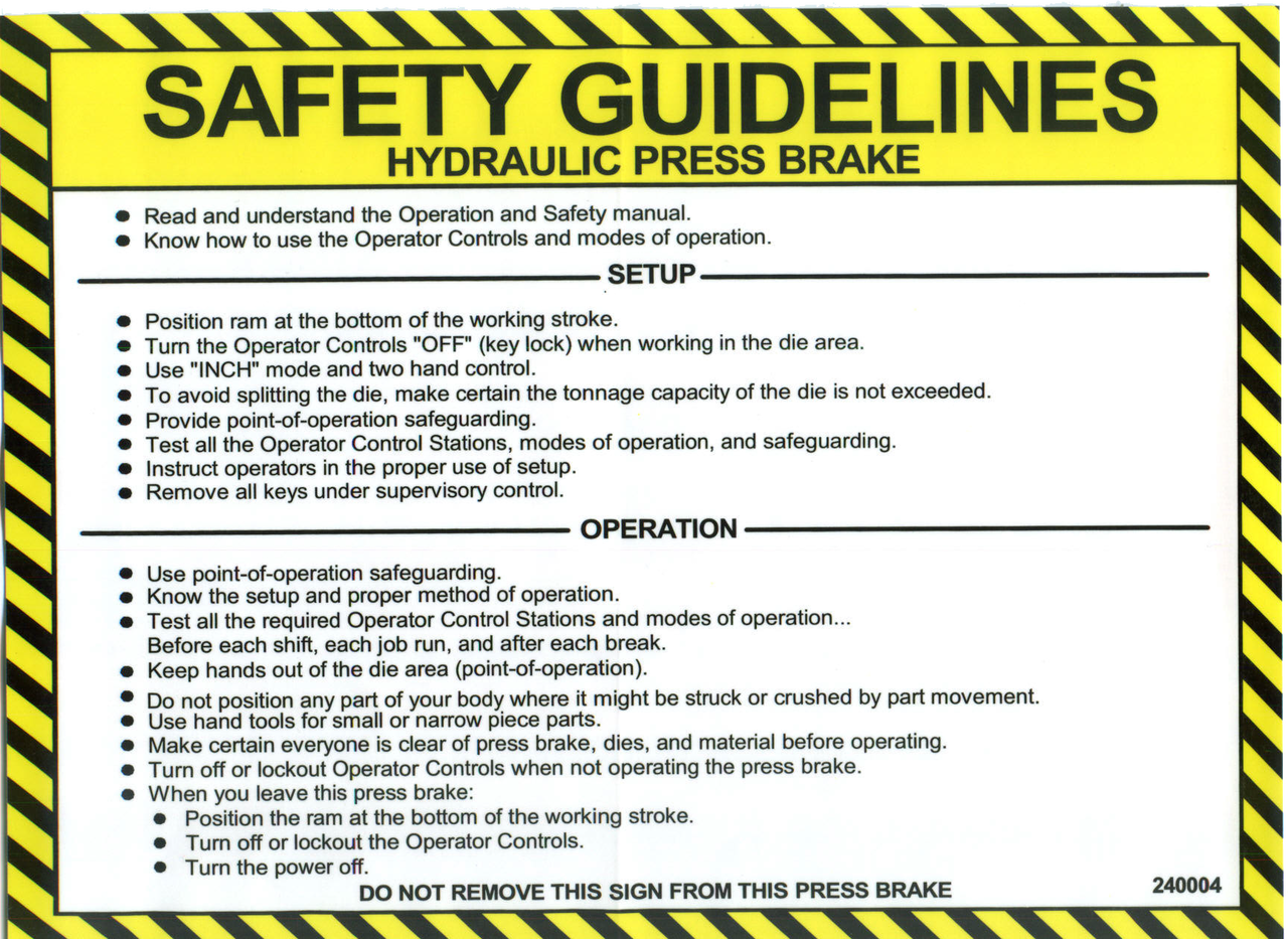 Safety Sign: Press Brake (Hydraulic) - Safety Guidelines (English)