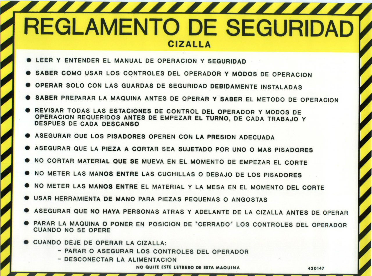 420147: Safety Sign: Shear - Safety Guidelines (Spanish)