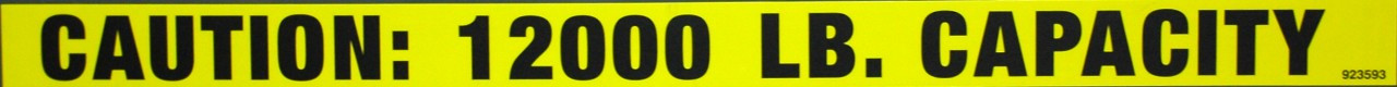 Safety Sign: MMHS - Caution Sign 12,000LB Capacity (English)