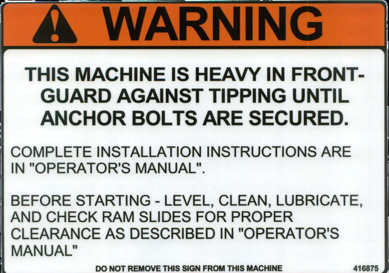 Safety Sign: Press Brake (Hydraulic or Mechanical) Warning Tipping Hazard (English)