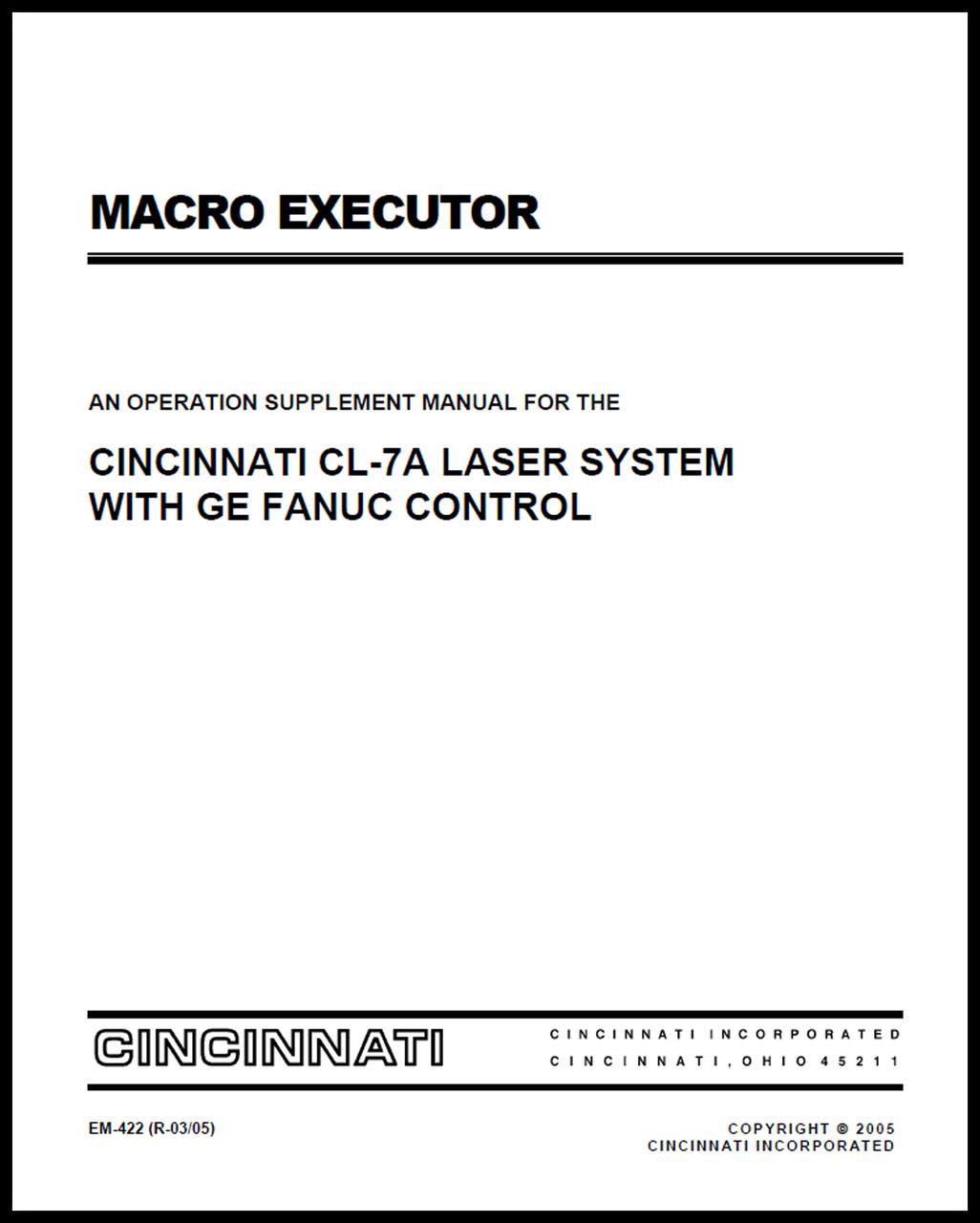 macro executor an operation supplement manual for the cincinnati rh ci online e ci com Fanuc Programming Training Fanuc Karel Programming