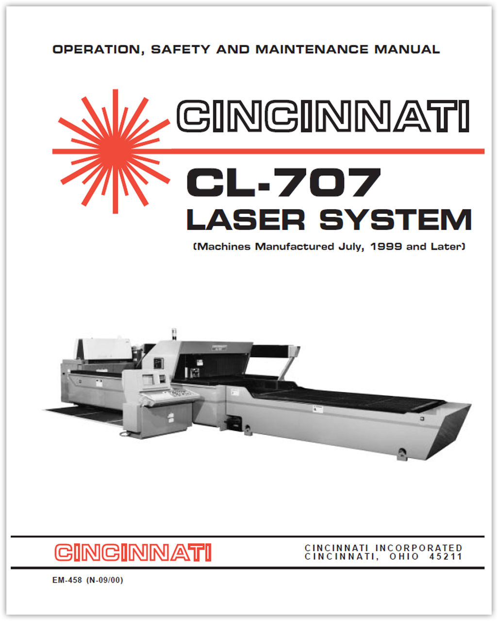 EM-458 (N-09-00) CL-707 Laser System - Operation, Safety and Maintenance Manual (Machines Manufactured July, 1999 and Later)