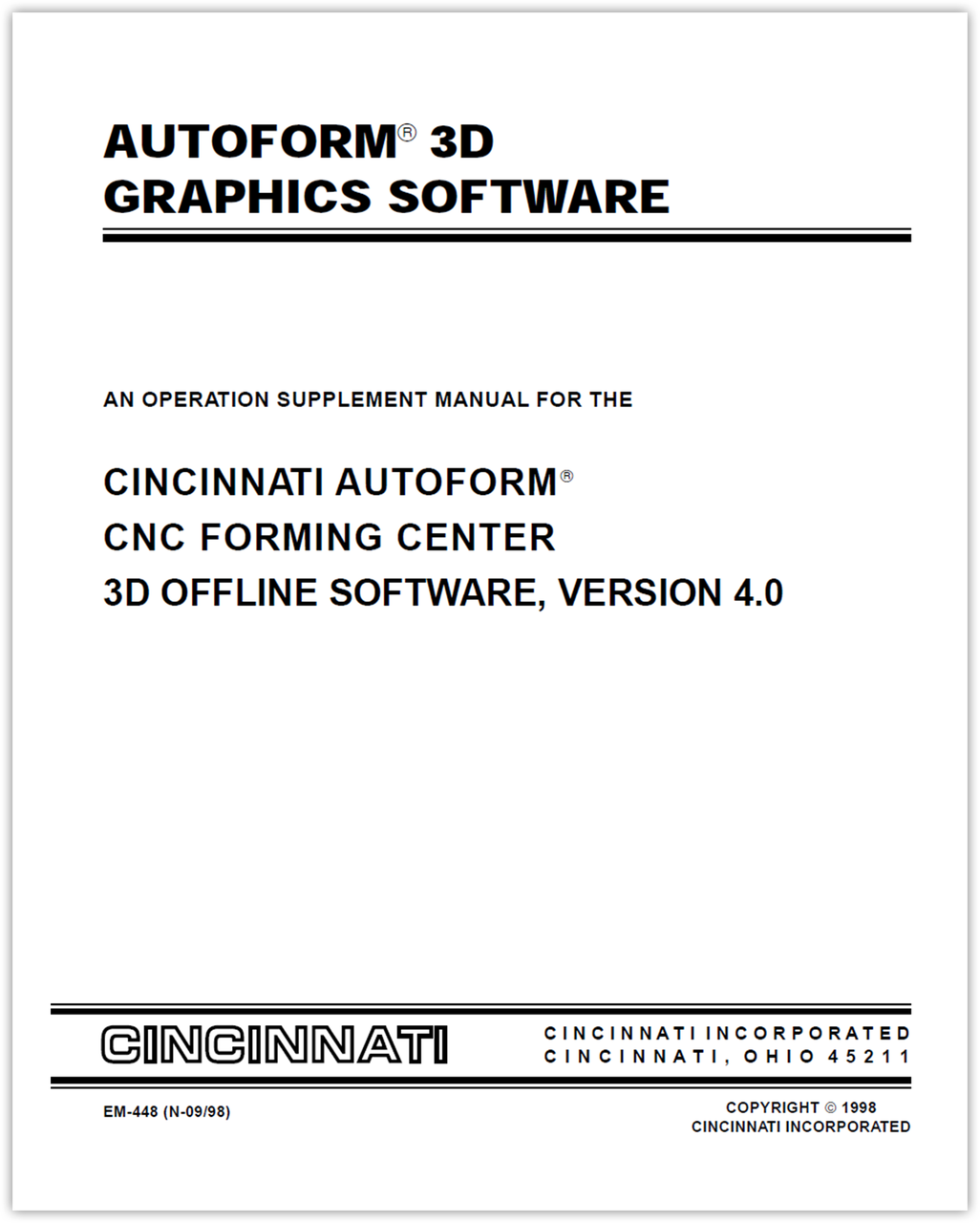 EM-448 (N-09-98) AUTOFORM 3D Graphics Software - An Operation Supplement Manual for the AUTOFORM CNC Forming Center 3D Offline Software, Version 4.0